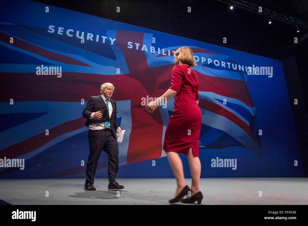 Mayor of London Boris Johnson on stage giving his speech during Conservative Party Conference , Manchester , October Stock Photo