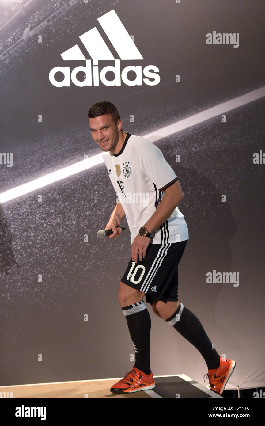 ae2190f180c German national soccer players Lukas Podolski poses during the presentation  of the German national soccer team kit for the UEFA Euro 2016 provided by  Adidas ...