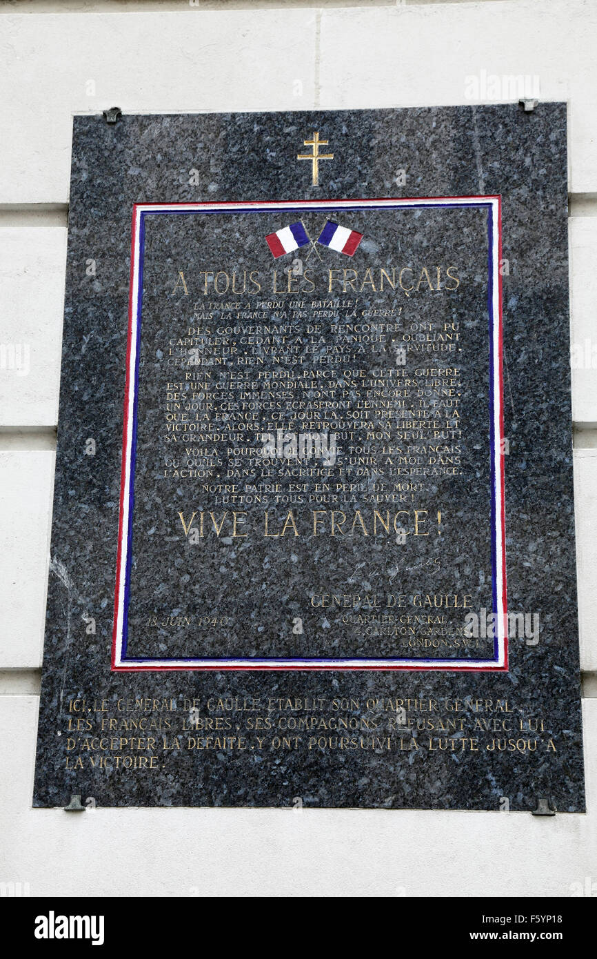 Plaque commemorating Free French Forces London - Stock Image