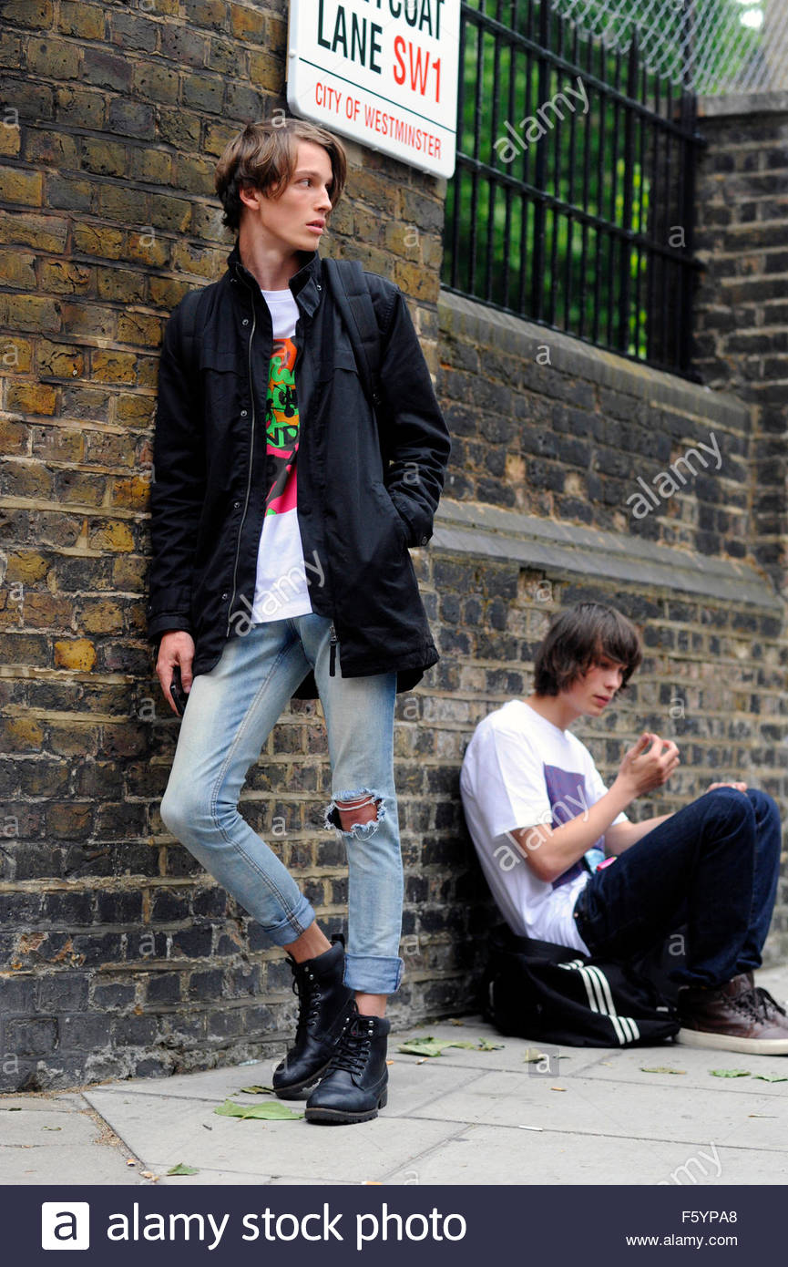 Models Off Duty after Coach Menswear Fashion Show,Westminster, London SW1P UK. Street Style London mens Fashion - Stock Image