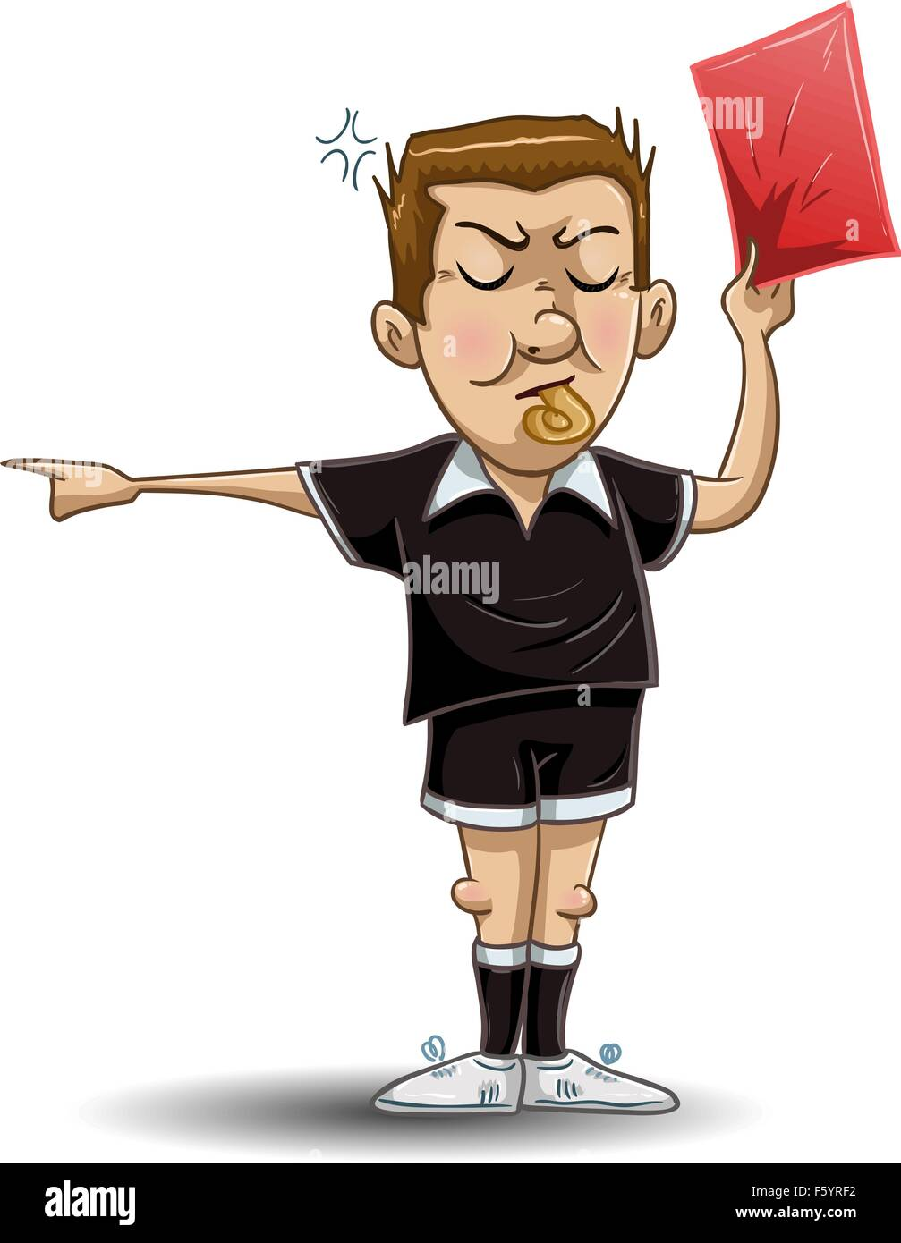 A Vector illustration of a soccer referee whistles, holds out a red card and points to the side. - Stock Image