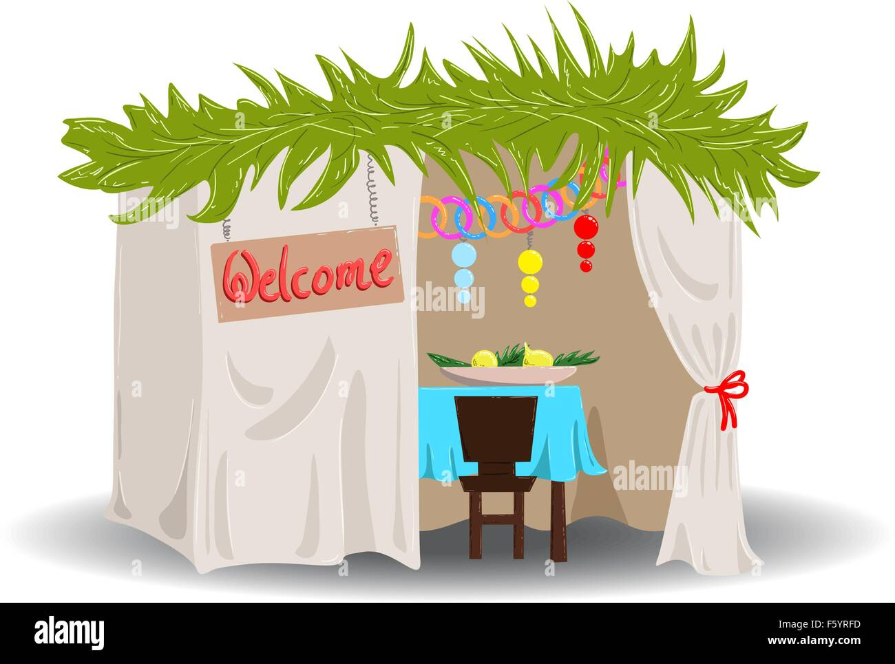 A Vector illustration of a Sukkah decorated with ornaments for the Jewish Holiday Sukkot. - Stock Image