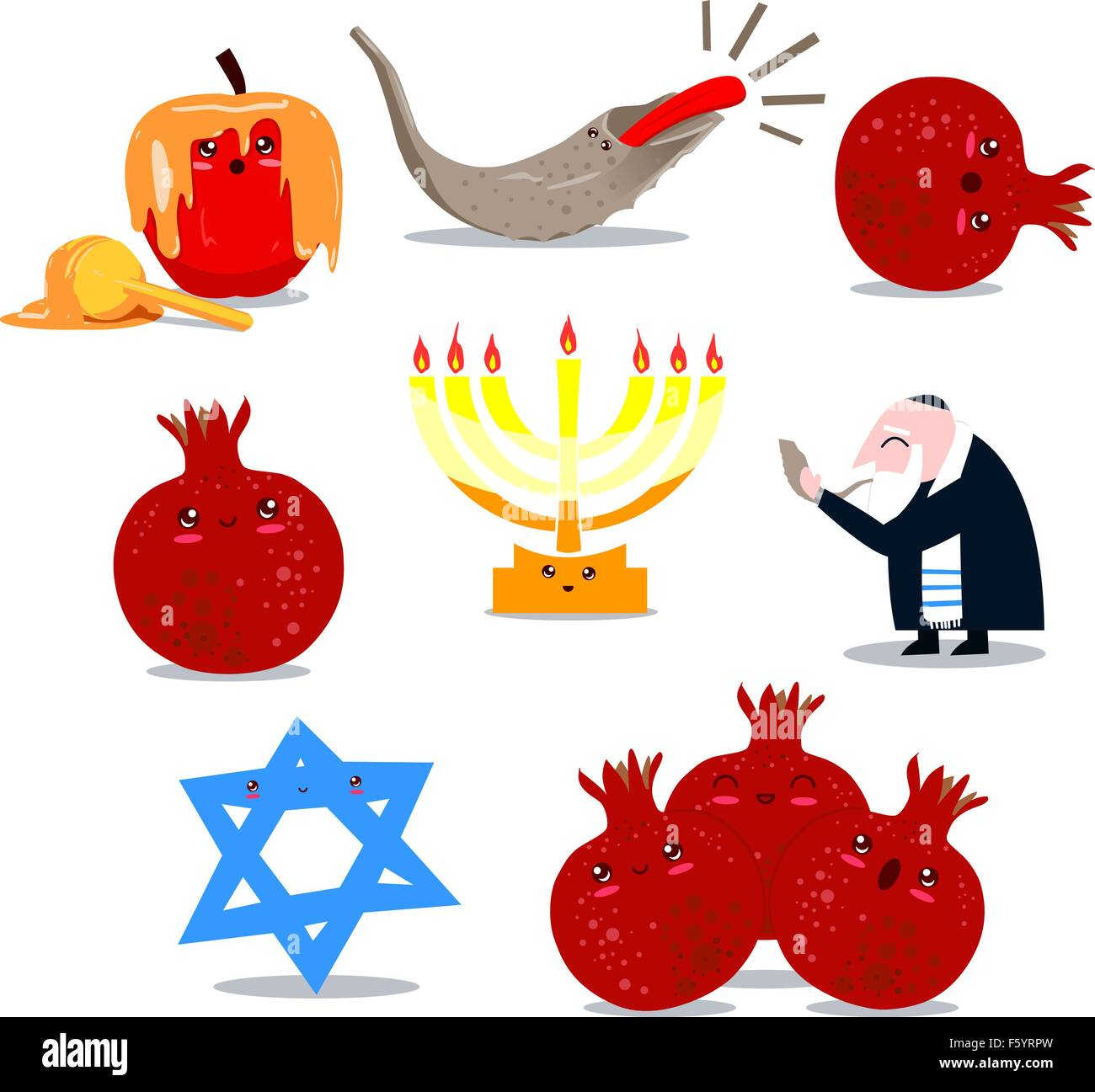 A Pack Of Vector Illustrations Of Famous Jewish Symbols For The