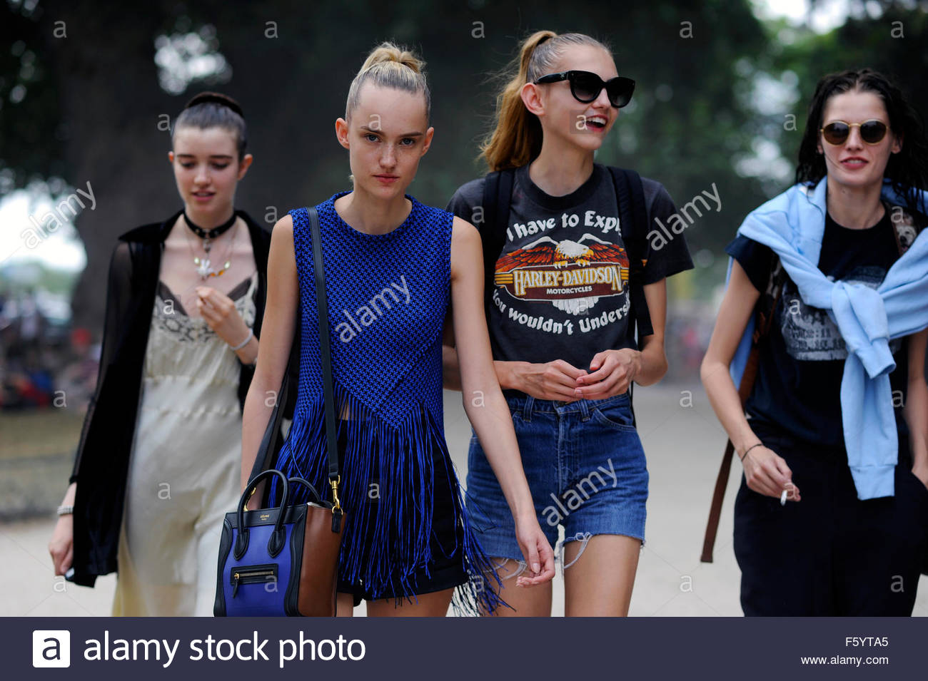 Models Off Duty after Chanel Haute Couture, Grand Palais, Paris, PFW FW15 SS16 . - Stock Image