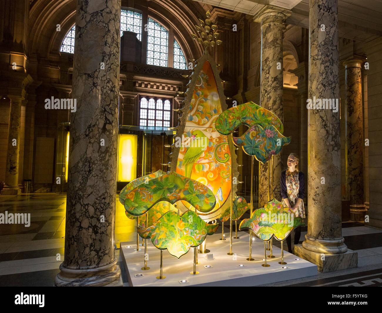 London, UK. 10th November, 2015. New Delhi-based design duo Sarthak and Sahil reveal their new festive light installation, Stock Photo