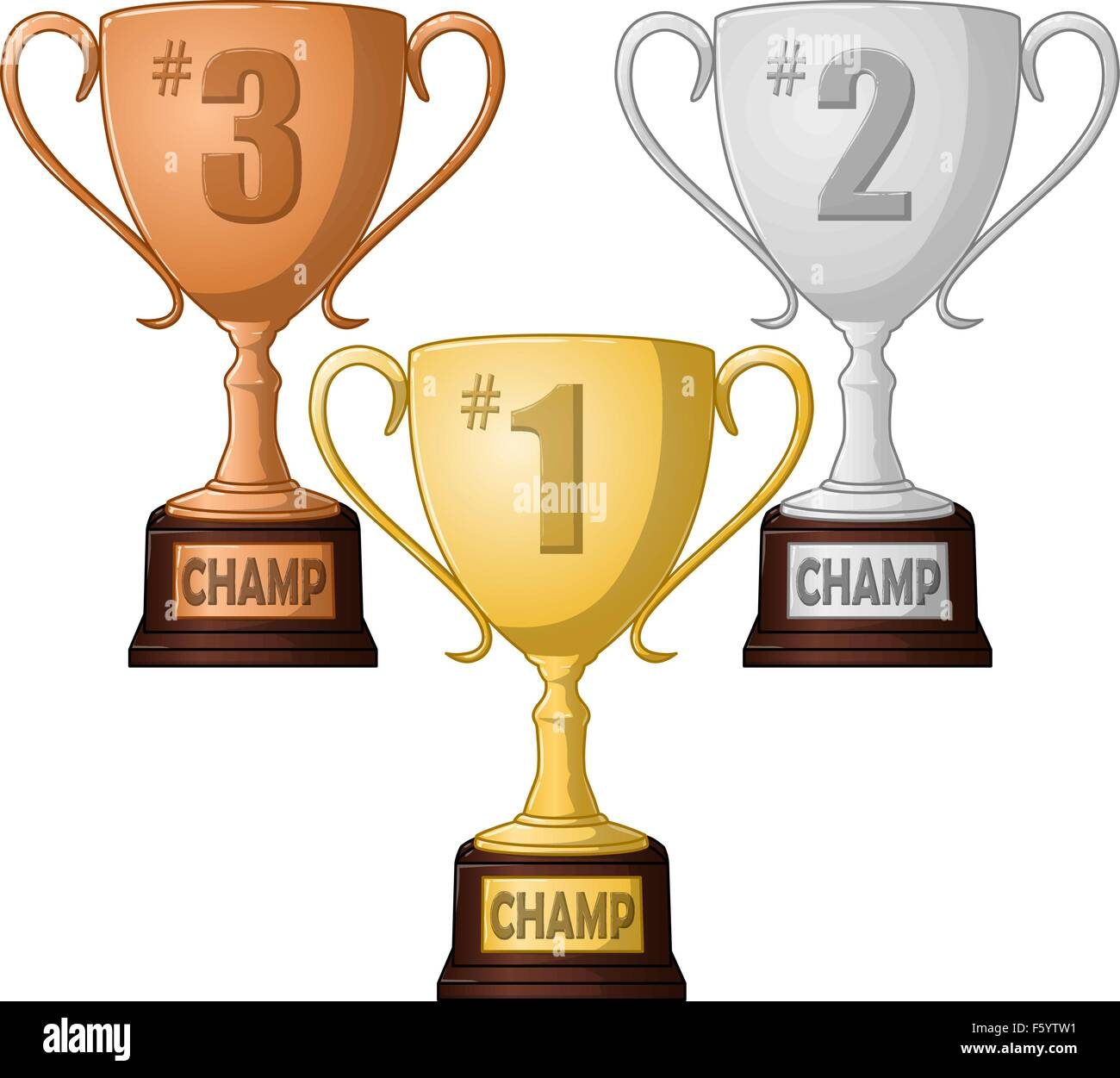 A vector illustration of gold silver and bronze place trophies - Stock Vector