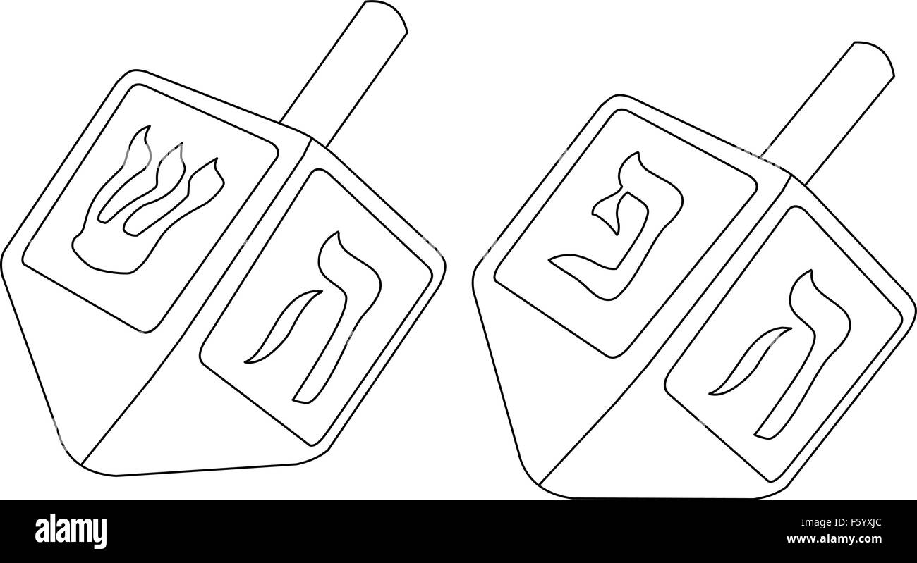 Vector illustration coloring page of dreidels for the Jewish holiday Hanukkah. Stock Vector
