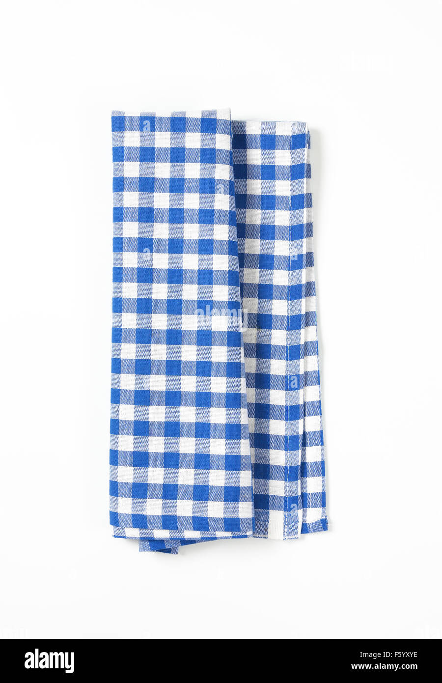 Blue And White Checkered Tablecloth On White Background ...