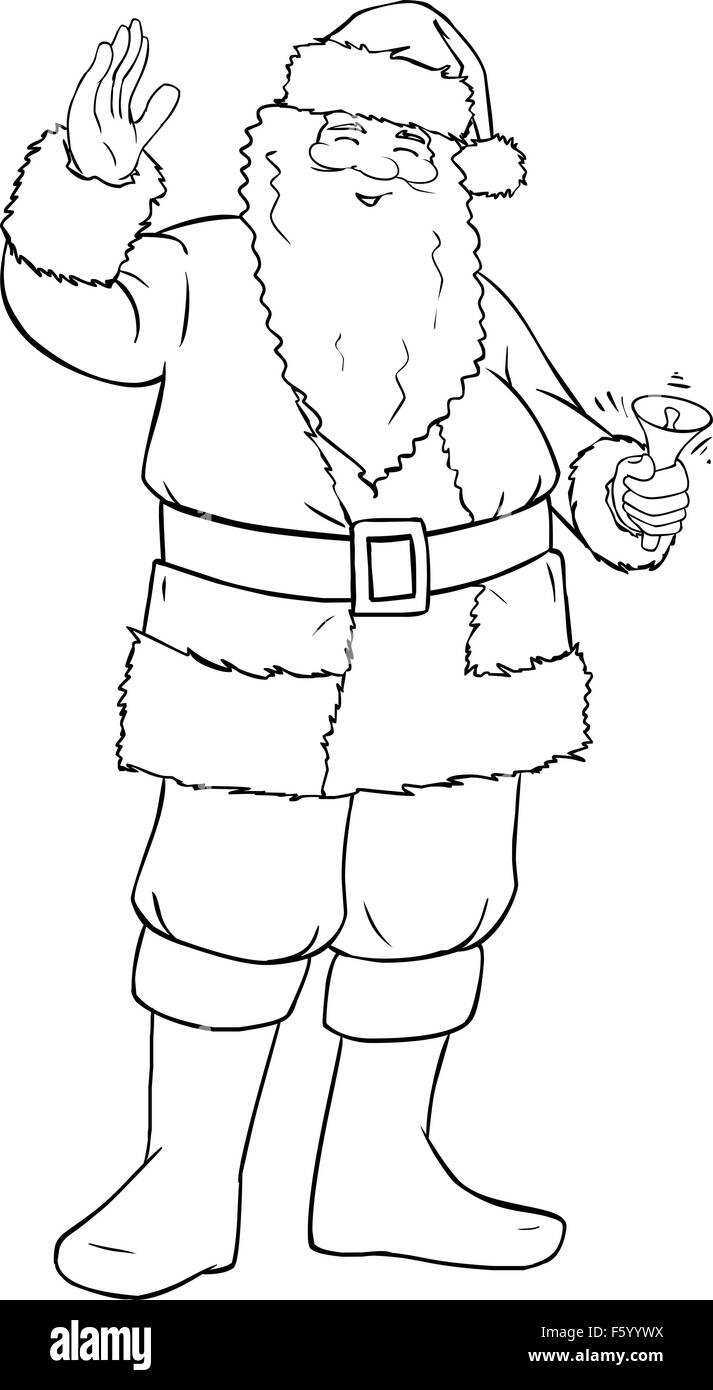Vector illustration coloring page of Santa Claus smiling and ringing a bell and waving his hand for Christmas. - Stock Image