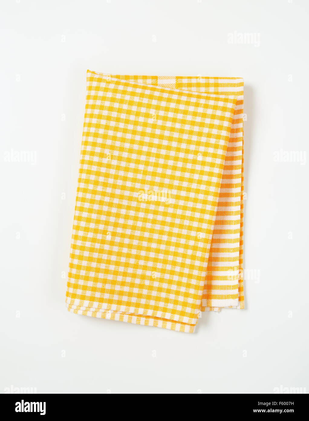 Beau Yellow And White Checkered Tablecloth On White Background