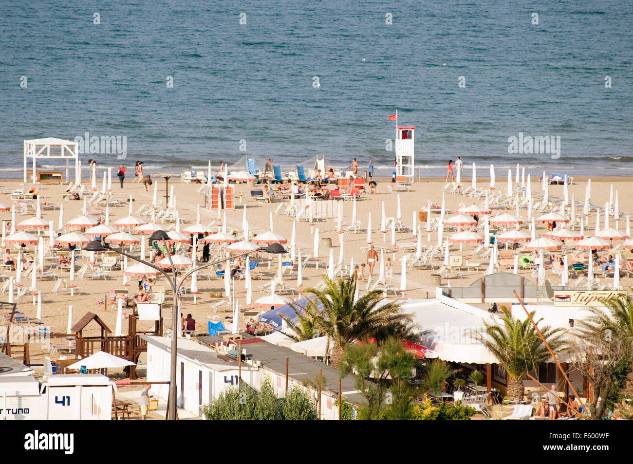Rimini italy italian beach beaches east coast Adriatic Sea coastline resort town - Stock Image