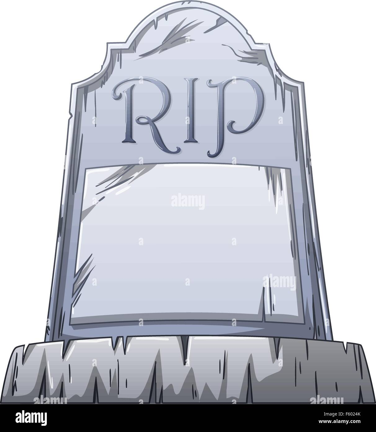 Vector illustration of an old grave with RIP written on the stone. - Stock Vector