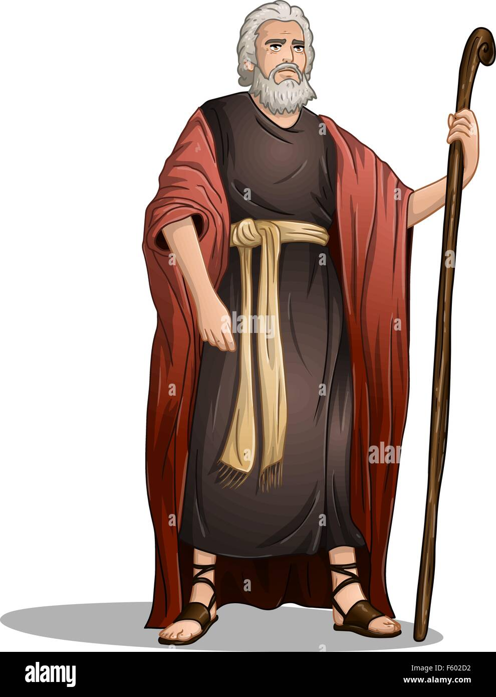 Vector illustration of Moses standing for Passover. - Stock Vector