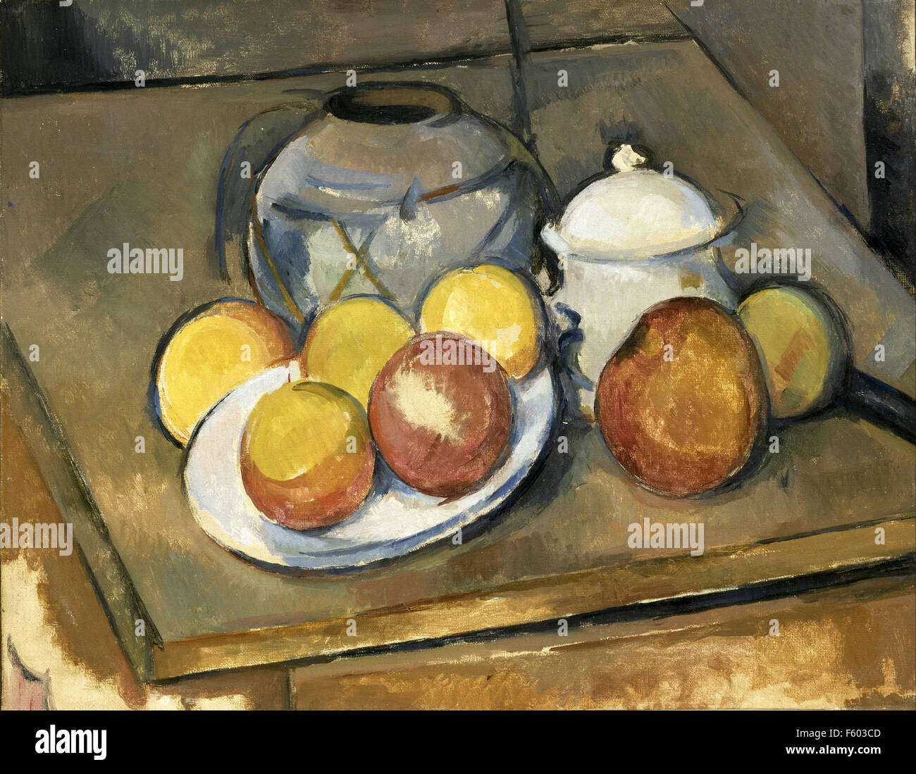 Paul Cézanne - Straw Trimmed Vase, Sugar Bowl and Apples - Stock Image