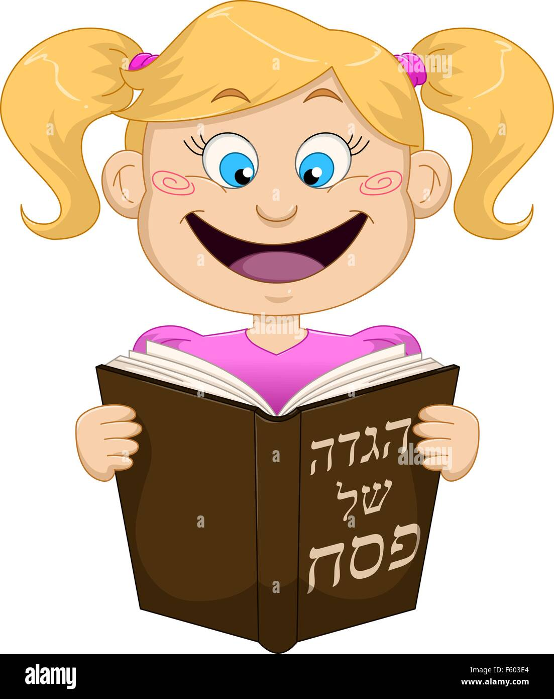 Vector illustration of a girl reading from Haggadah on Passover. - Stock Image