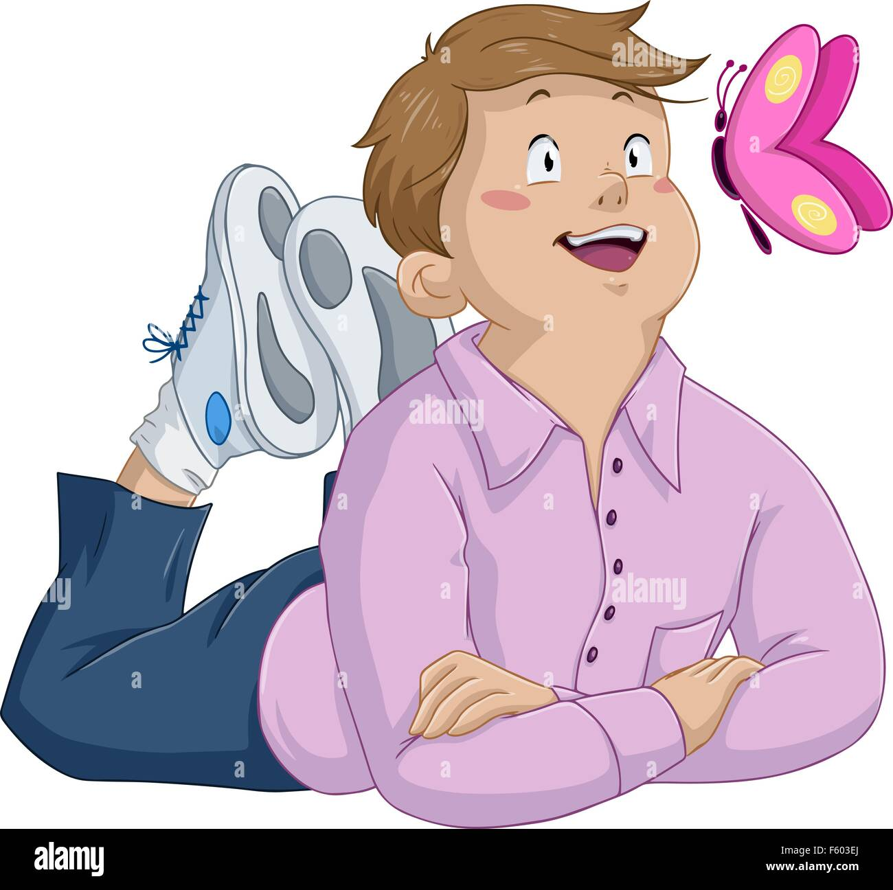 Vector illustration of an innocent boy laying and looking at butterfly. - Stock Image