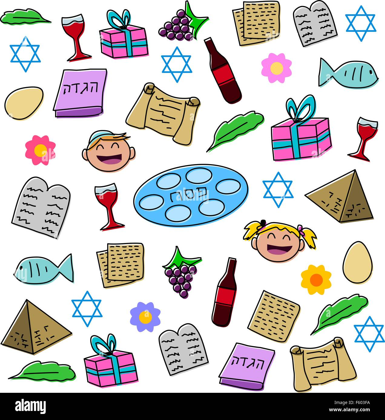 Vector illustration pack of Passover symbols and icons. - Stock Image