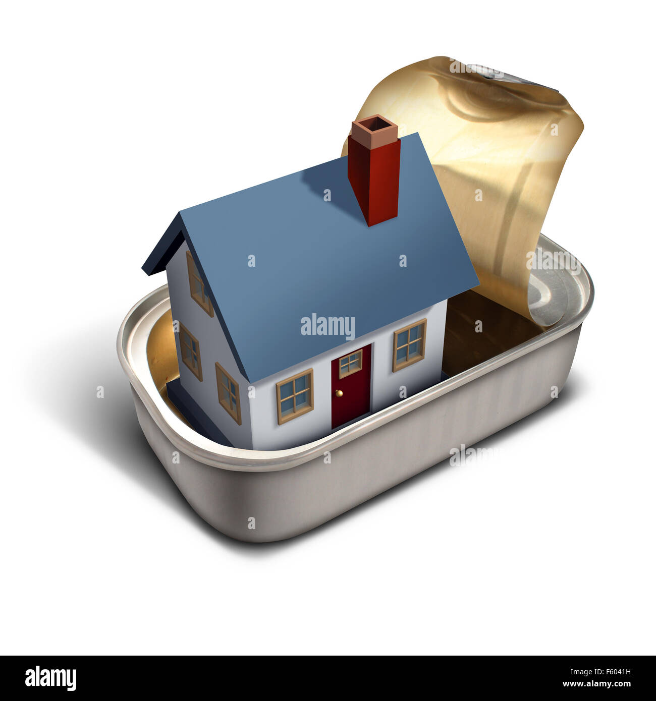 Confined  home real estate moving time concept as a family house inside a sardine can metaphor for living in a squeezed - Stock Image