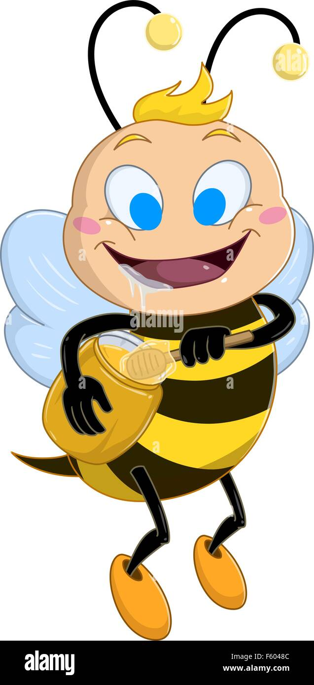 Vector illustration of a cute bee holds honey jar and drools - Stock Vector