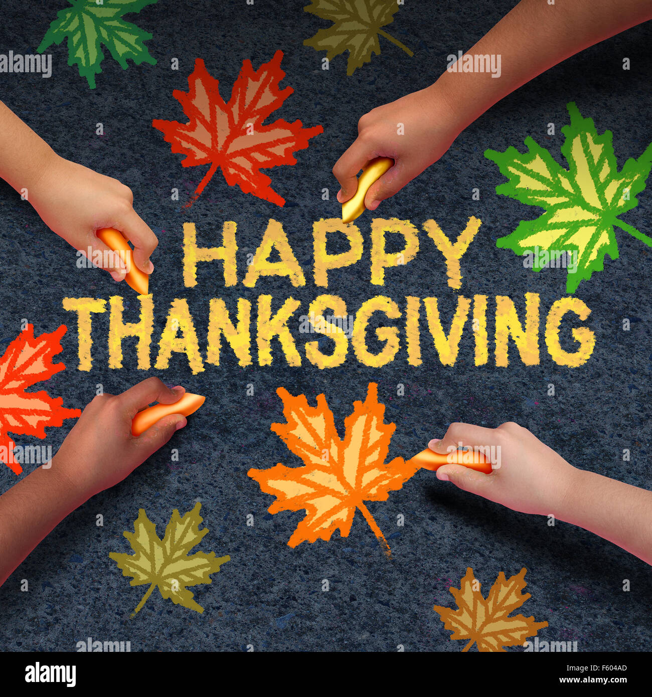Happy thanksgiving day concept as a group of diverse people drawing using chalk on ashpalt the word for traditional - Stock Image
