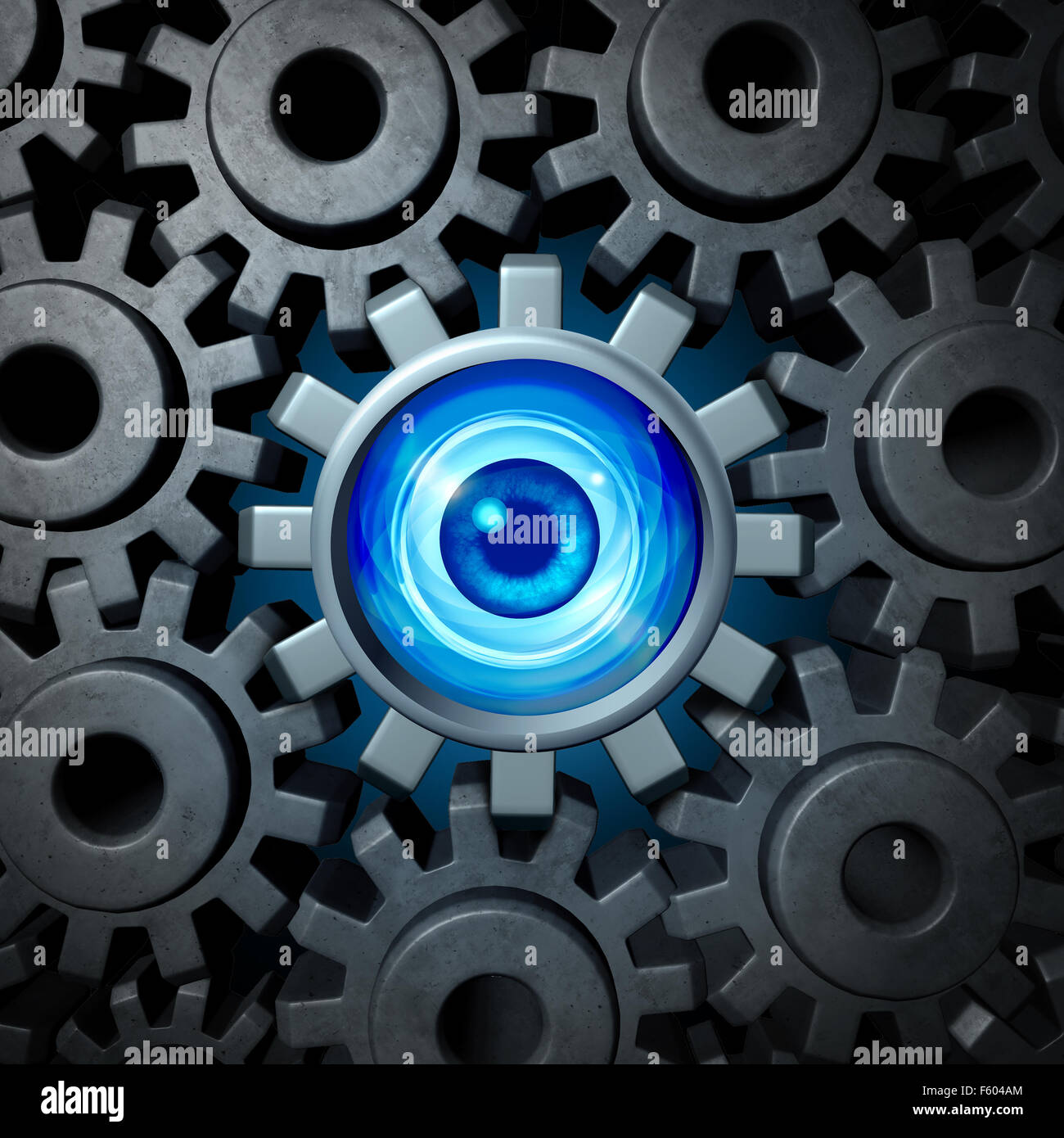 Business supervision and vision concept and company security symbol as a group of connected gears and cog wheels - Stock Image