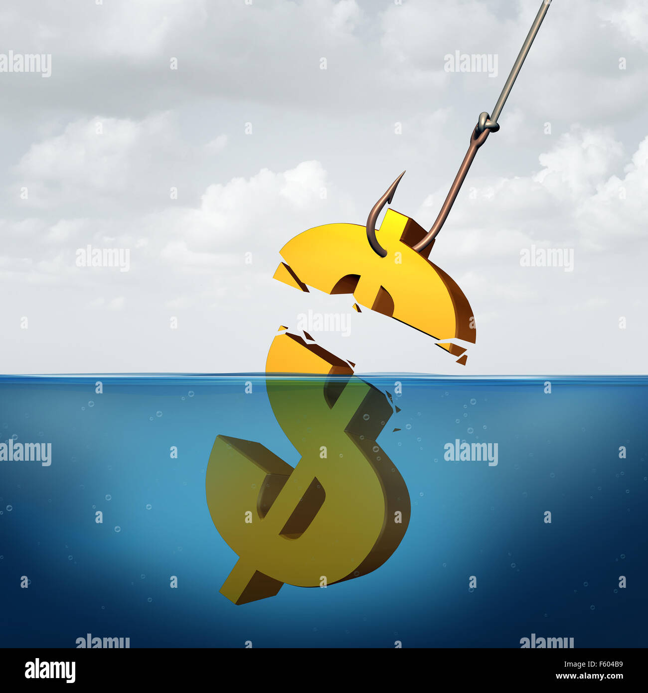 Lower returns business concept as a three dimensional dollar sign in the water with a fishing hook pulling a small - Stock Image