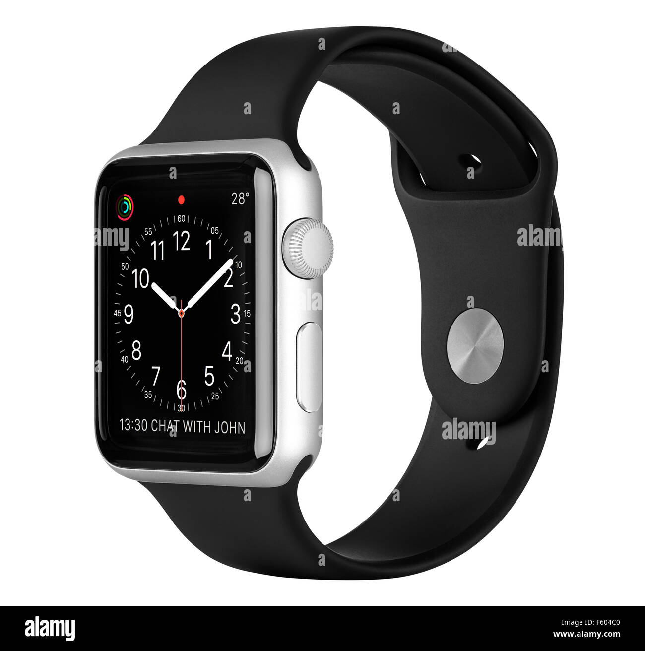 Varna, Bulgaria - October 16, 2015: Apple Watch Sport 42mm Silver Aluminum Case with Black Band with clock face - Stock Image