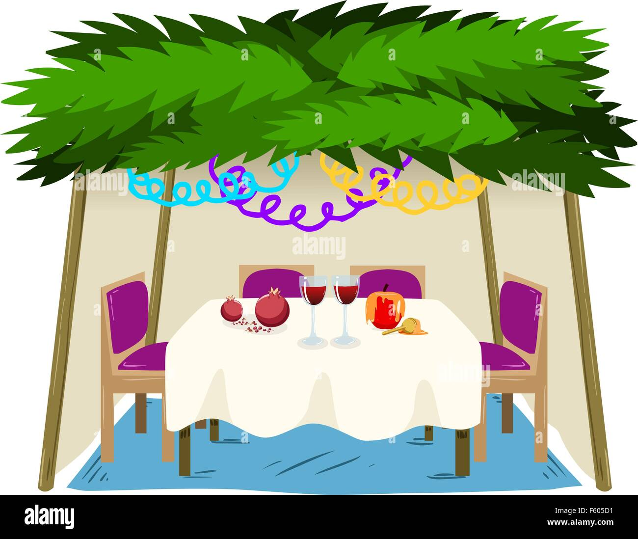 Vector illustration of Sukkah with ornaments table with food for the Jewish Holiday Sukkot. - Stock Image
