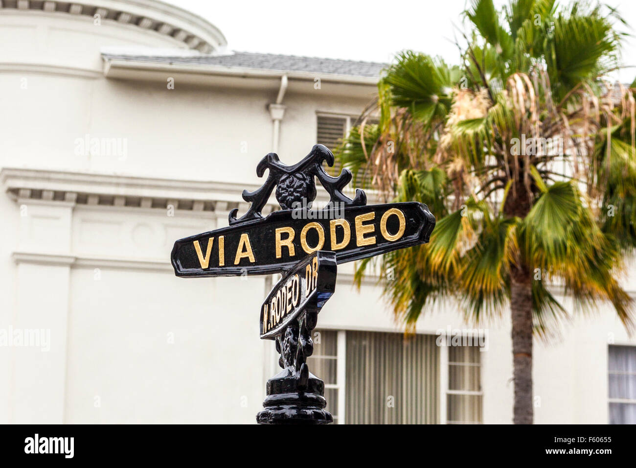 A street sign for Rodeo Drive in Beverly Hills California Stock Photo