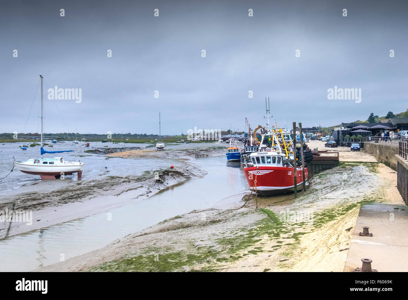 Cockle boats tied up at Leigh on Sea in Essex. - Stock Image
