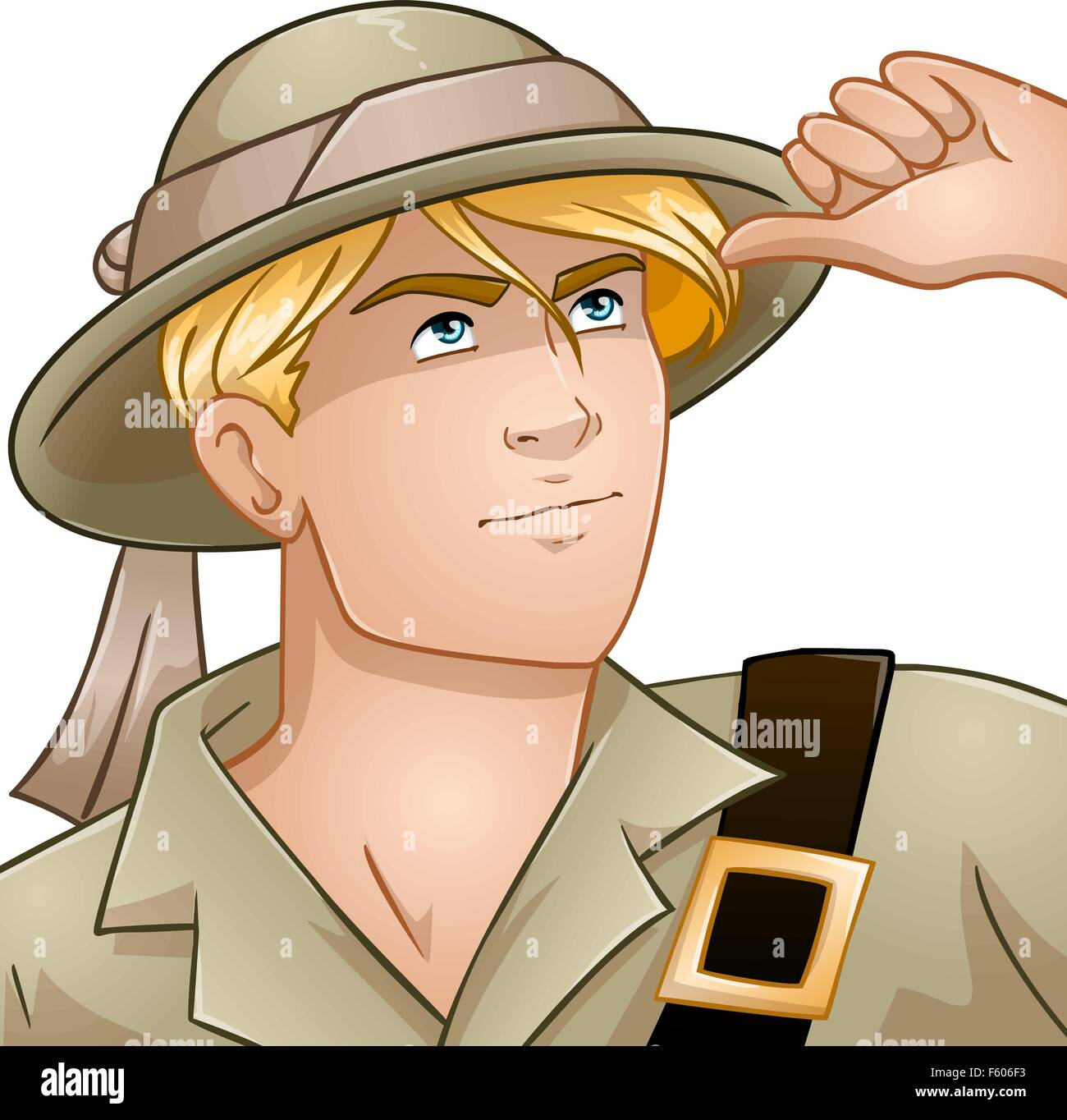 Vector illustration of a blond nature explorer looking up. - Stock Vector