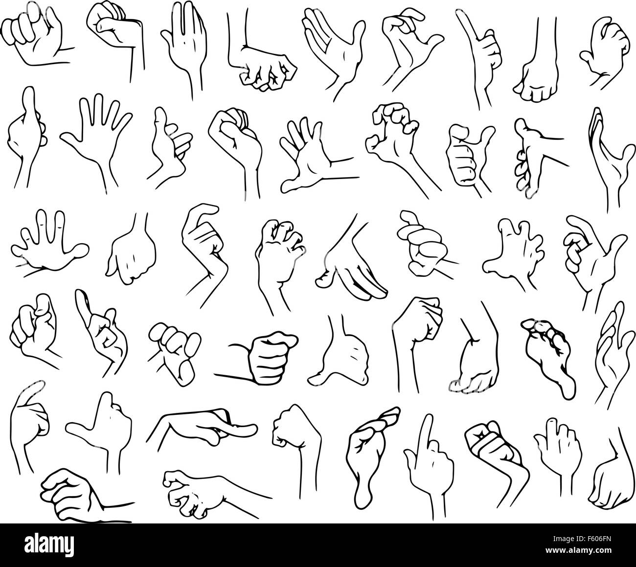 Vector illustrations lineart pack of cartoon hands in various gestures. - Stock Image