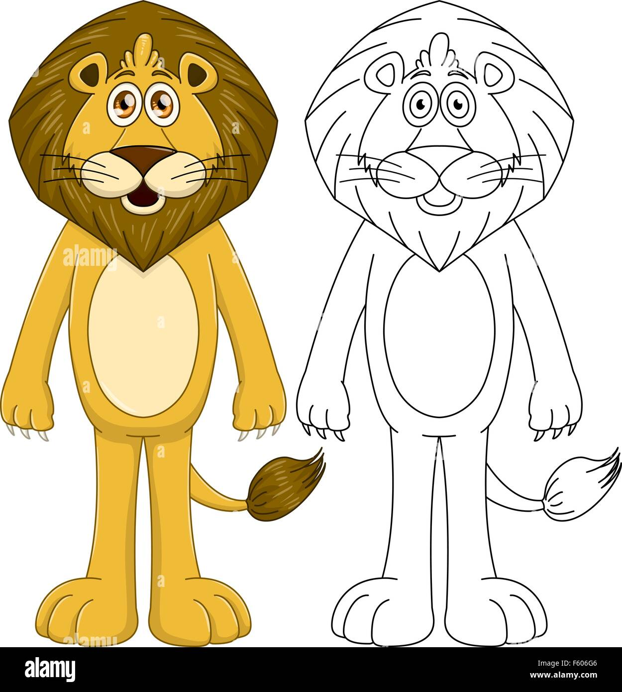 Vector illustration set of a cute humanoid lion with lineart. - Stock Image