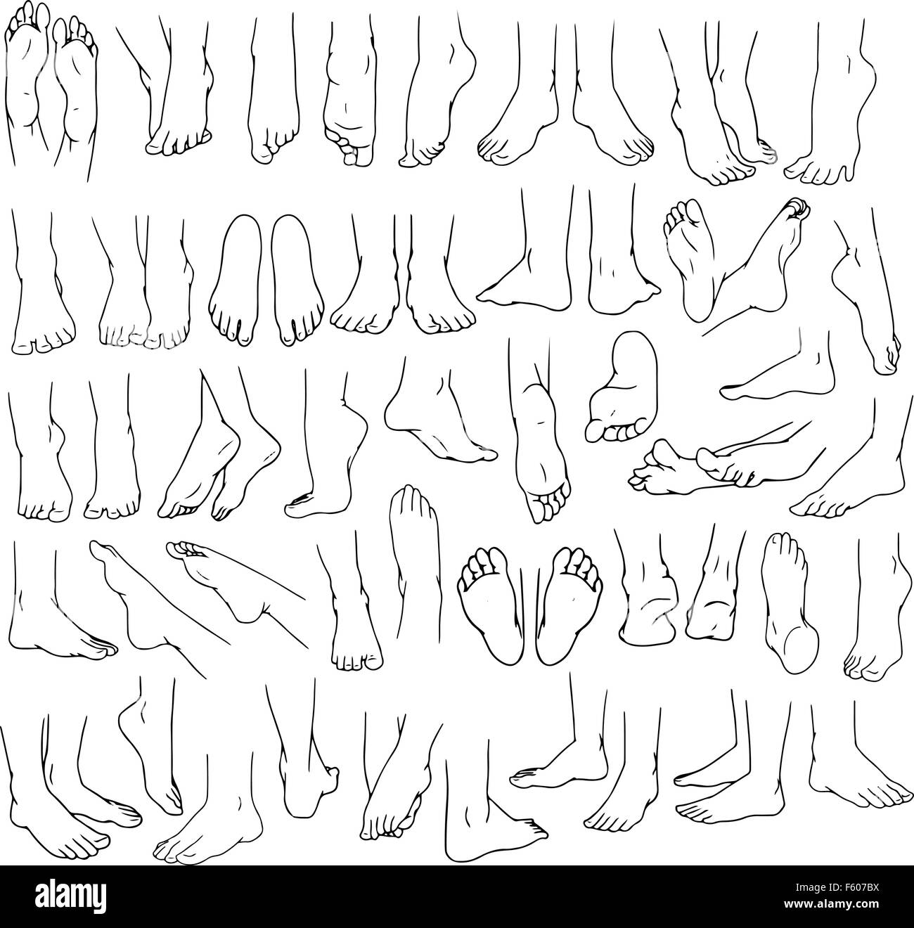 Vector illustrations lineart pack of human feet in various gestures. - Stock Vector