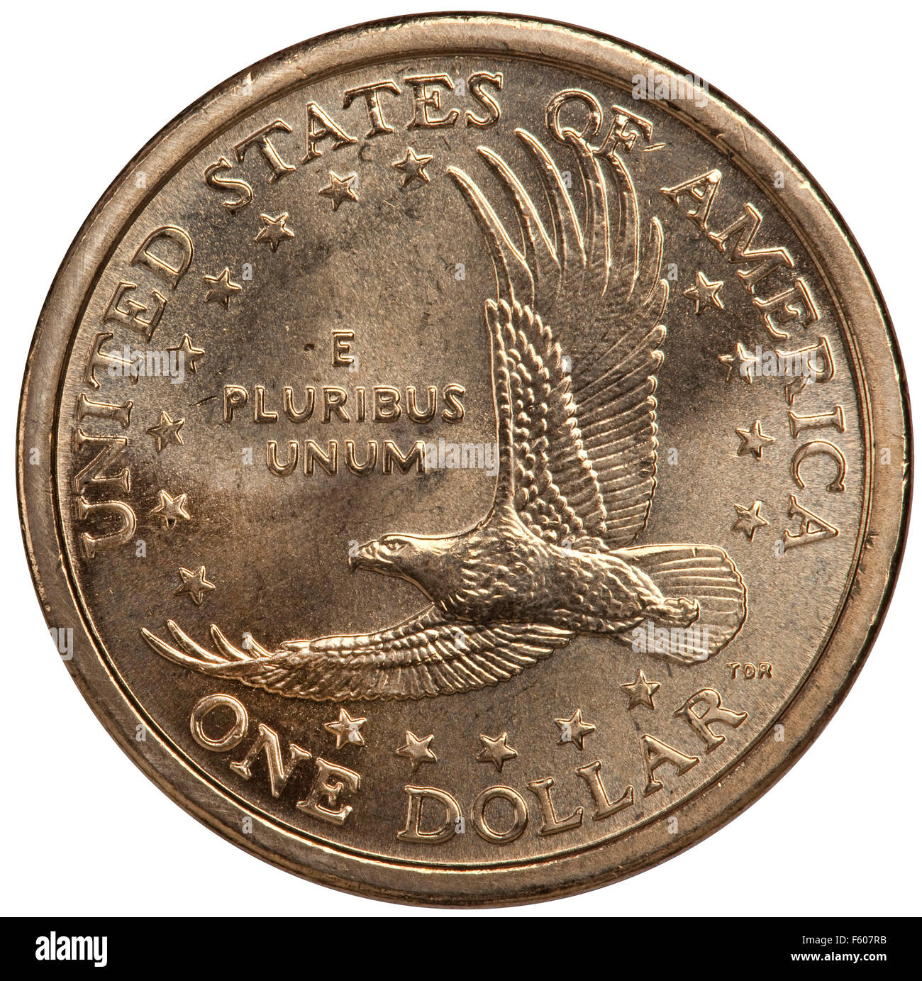The reverse side of the United States Sacagawea dollar coin 2000-2008 - Stock Image