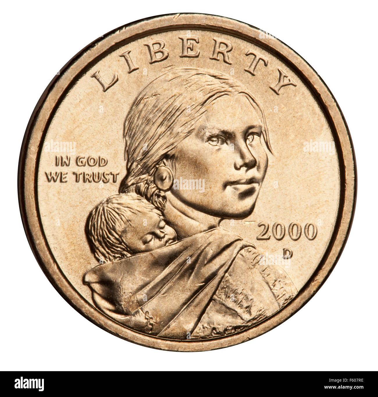 Sacagawea dollar coin 2000-2008: Glenna Goodacre's portrait of Sacagawea carrying her son Jean Baptiste Charbonneau - Stock Image