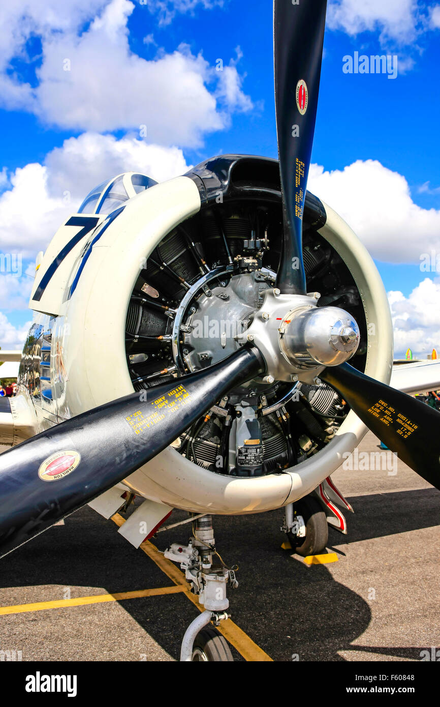 North American T-28 Trojan 1950s US Navy piston-engined trainer plane at the Fort Myers Page Field airport open - Stock Image