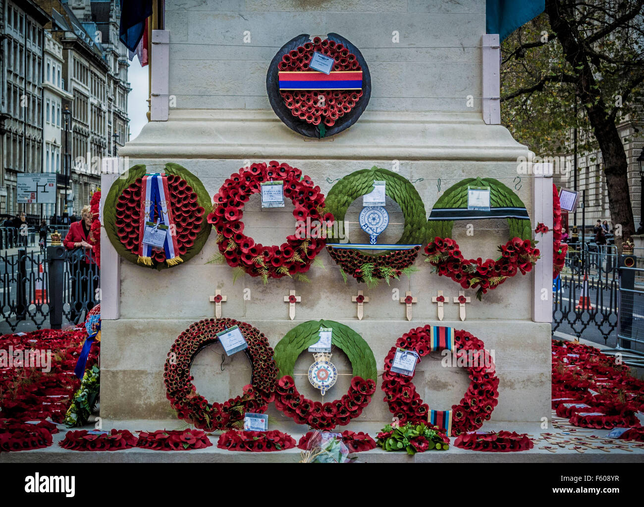 London, UK. 9th November, 2015.  Poppy wreaths at the Cenotaph for Remembrance Day.  Bailey-Cooper Photography/Alamy - Stock Image