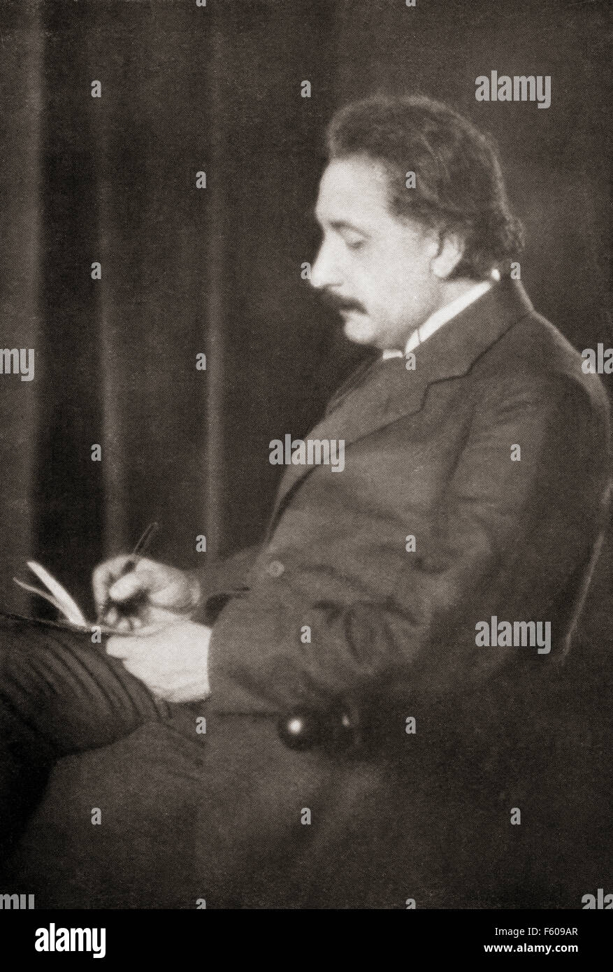 Albert Einstein, 1879 – 1955.  German-born theoretical physicist. He developed the general theory of relativity. Stock Photo