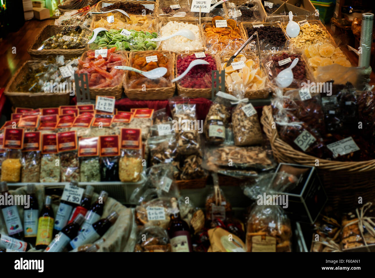 Dried foods,herb and spice shop display Florence Mercato Centrale central market Italy - Stock Image