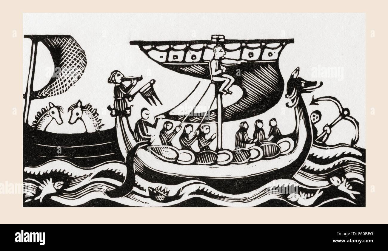 William the Conqueror crossing the English channel in 1066. William the Conqueror, c.1027 - 1087, aka William I - Stock Image