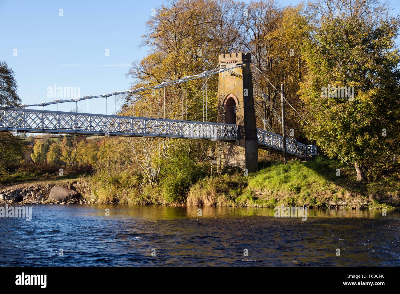 Chainbridge footbridge across the River Tweed. Melrose, Scottish Borders, Scotland, UK, Britain - Stock Image