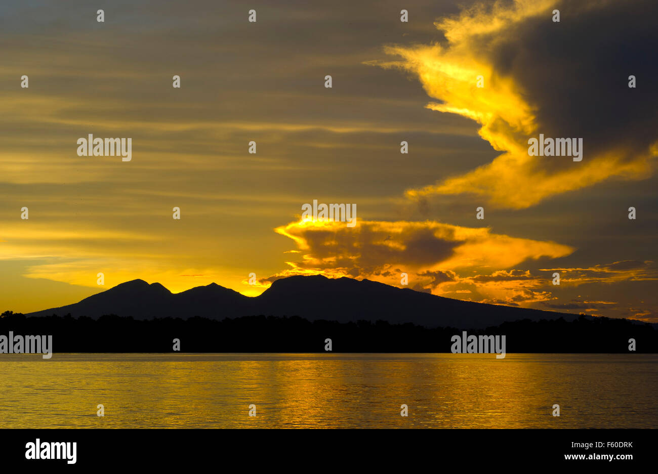 Sunset in the Solomon Islands - Stock Image
