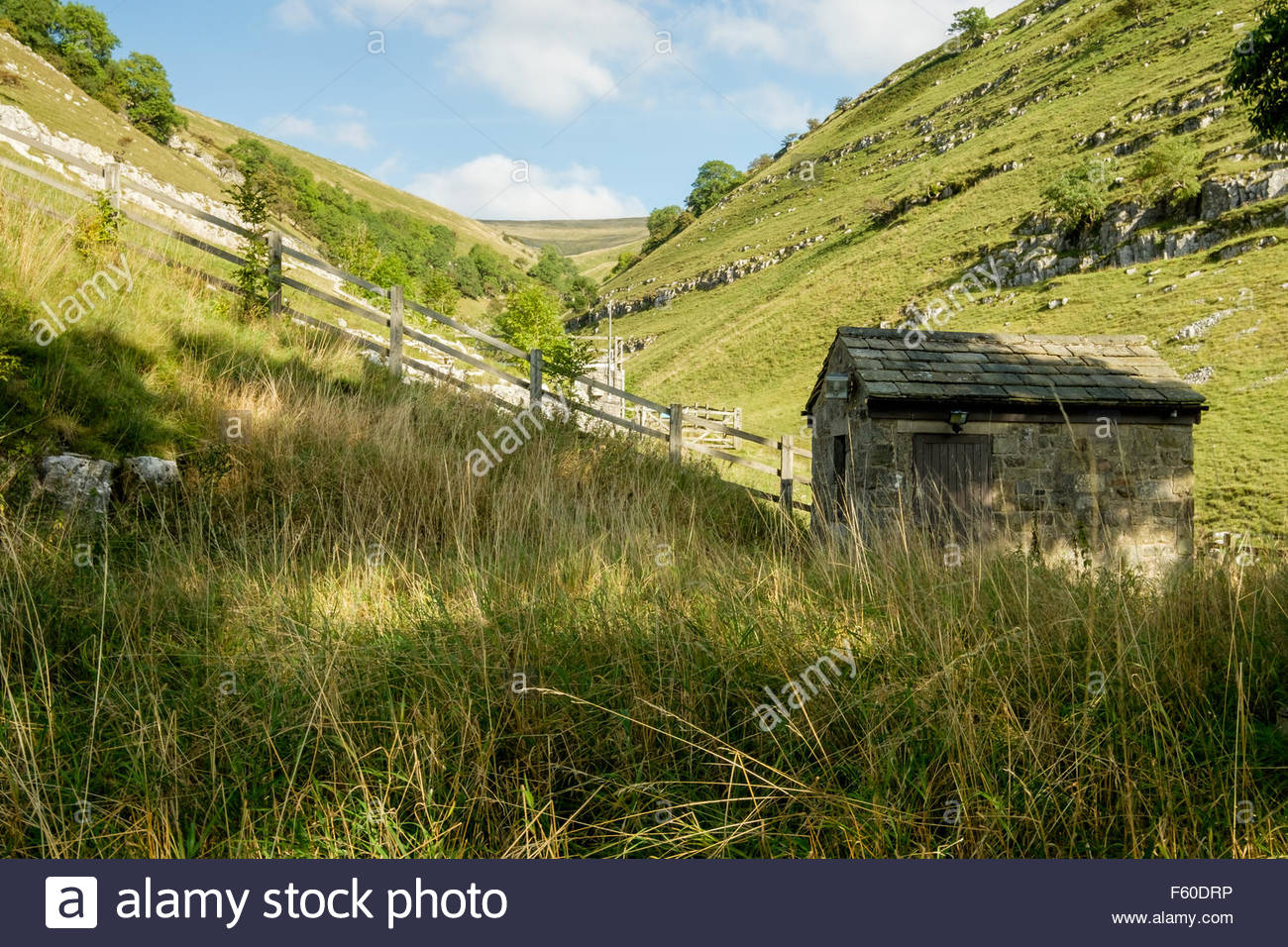 Yorkshire Water property next to Buckden Beck stream above village of Buckden, Wharfdale in the Yorkshire Dales, - Stock Image