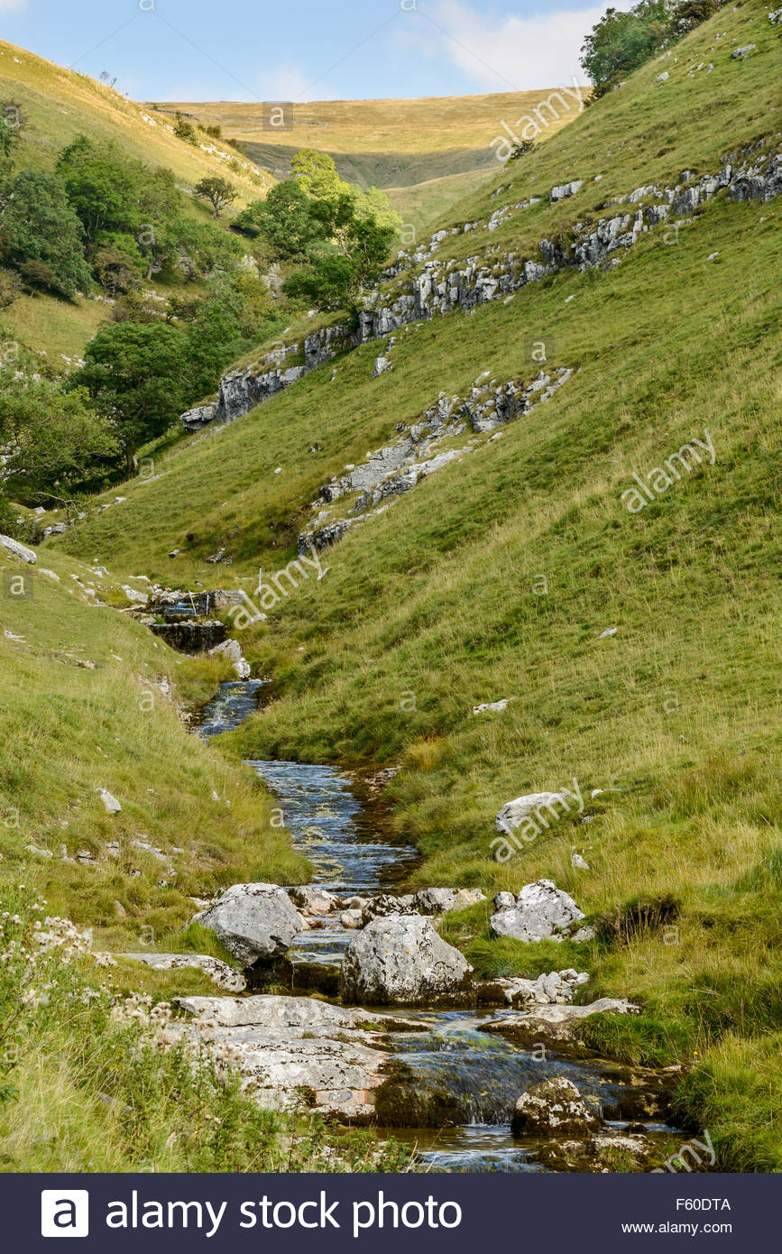 Buckden Beck stream above village of Buckden, Wharfdale in the Yorkshire Dales, England feeding into River Wharf - Stock Image