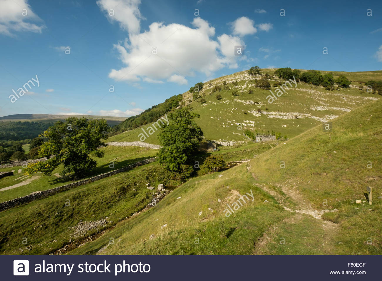 View of the hills above the village of Buckden, Wharfdale in the Yorkshire Dales, England on a sunny day in Autumn. - Stock Image