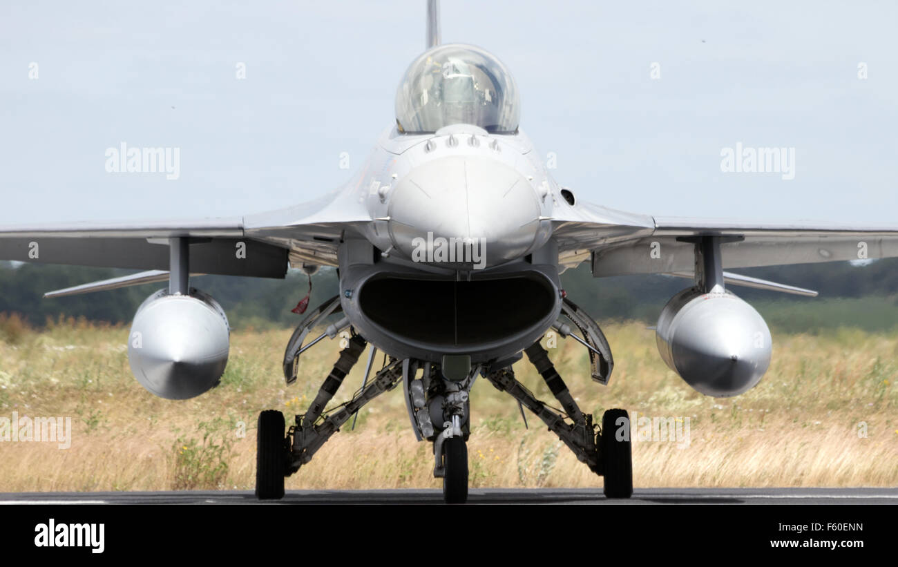F-16 on the runway during the NATO Tiger Meet at Schleswig-Jagel airbase. The Tiger Meet - Stock Image