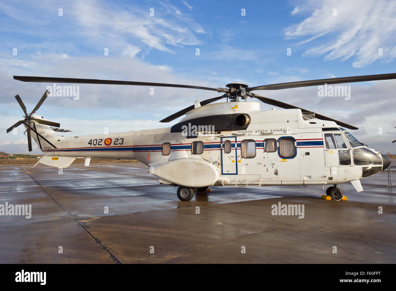 Spanish air force Eurocopter Cougar VIP helicopter - Stock Image