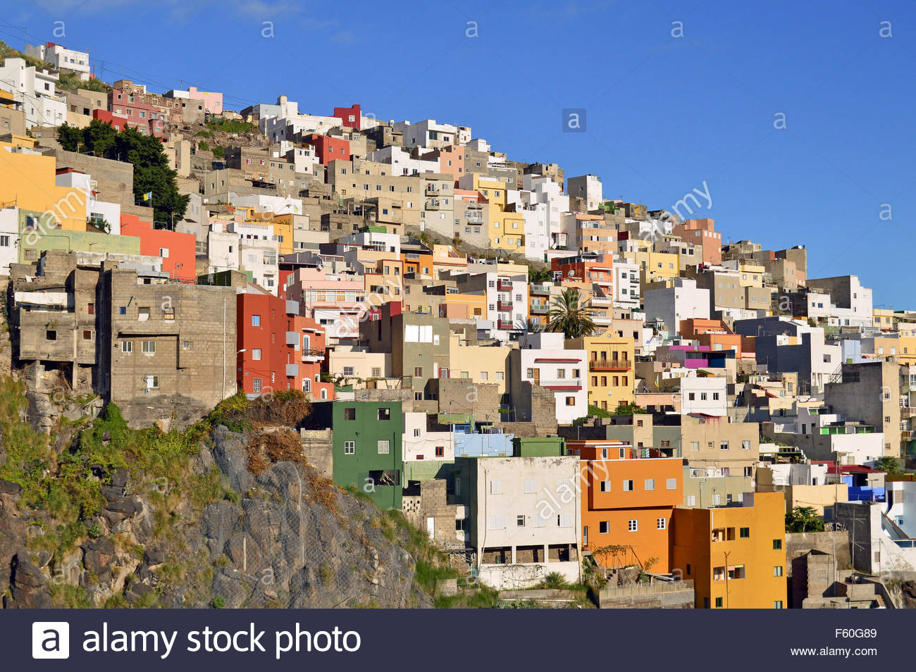 traditional colorful houses hilltop santa cruz de tenerife canary islands spain