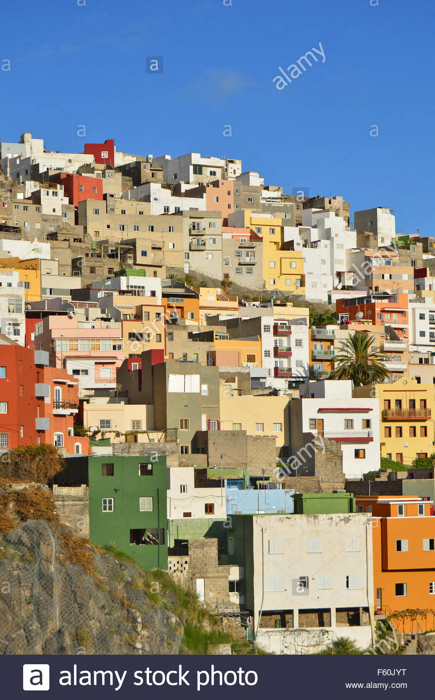 traditional colorful houses hilltop santa cruz de tenerife canary islands spain stock image
